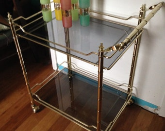 Midcentury Brass Faux Bamboo Bar Cart || Two-Tier Cocktail Trolley