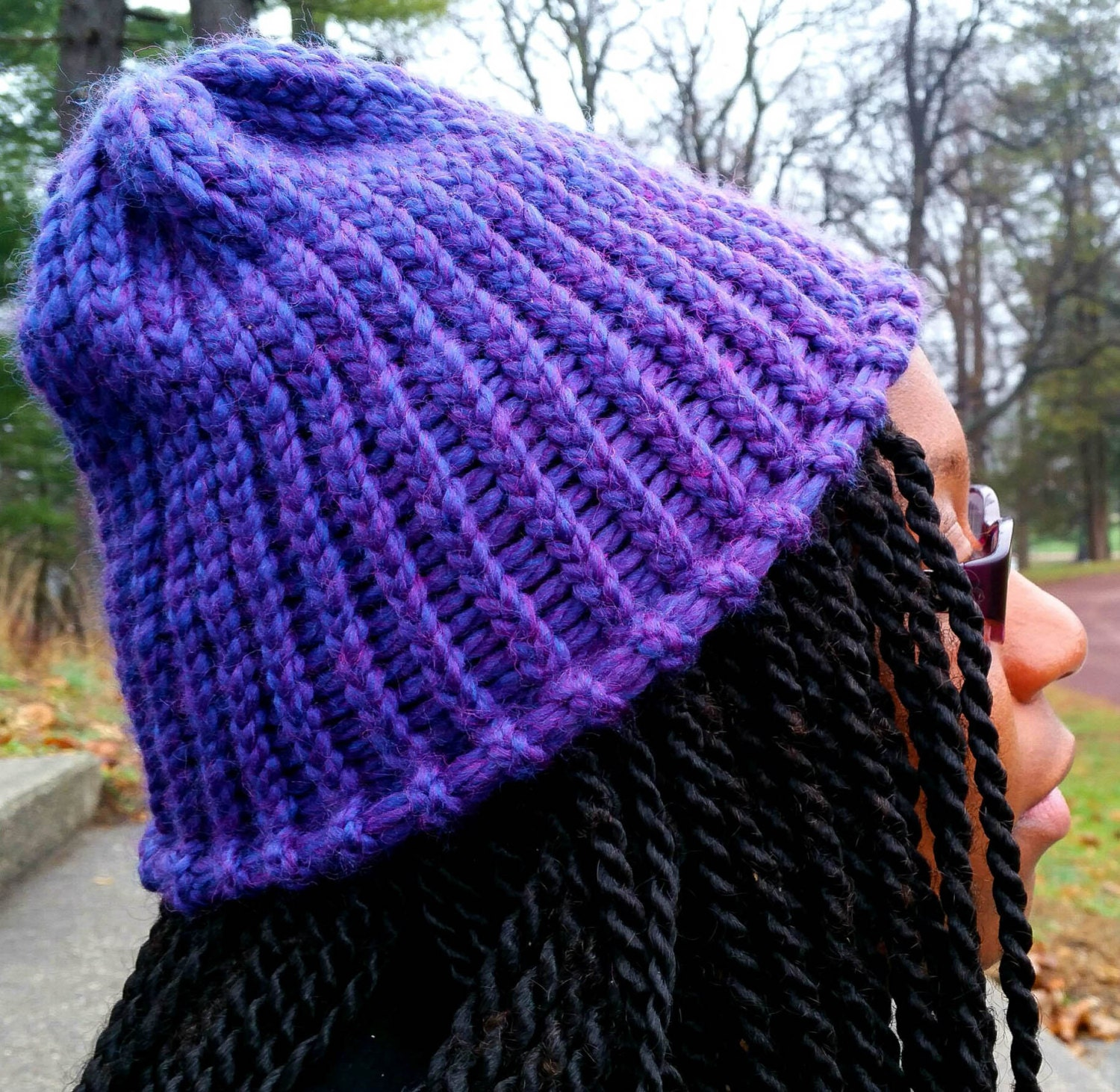 How To Loom Knit Slouchy Beanie Basketweave : Knitted purple slouch beanie loom knit