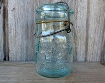 Antique Canning Jar Atlas Blue Glass with Wire Kitchen Storage Decorative Glassware Vintage Collectible Container