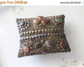 SHOP SALE Vintage Brass Filigree Copper and Stone Pillow Box
