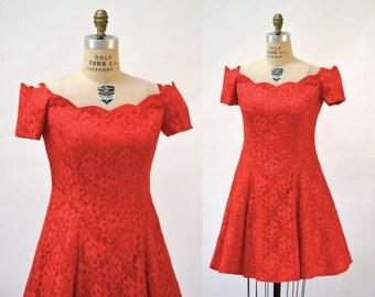 Vintage 80s Prom Dress Size Large Red Lace // 80s Vintage Party Dress in Red Lace Size Large XL Off the Shoulder
