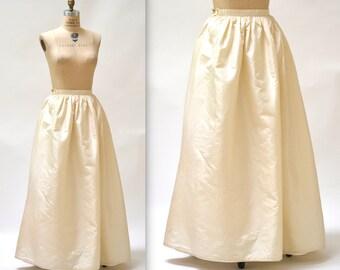 Vintage Cream Ball Gown Skirt size Small Silk // Vintage Wedding Skirt Cream White Silk Crinoline Skirt Size Small
