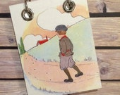 Recycled Notebook - Small Refillable Notepad - Upcycled Children's Book - Boy with Hands in Pockets
