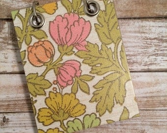 Flower Note Book - Recycled Notebook - Small Refillable Notepad - Floral - Upcycled Wallpaper