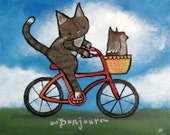 Cat and Bicycle Kids Nursery Wall Art Print 8 x 10 Cute Whimsical Childrens Room Decor Owl Painting Bonjour Animal Artwork