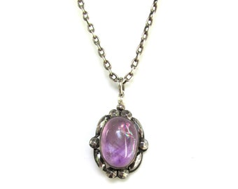 Vintage Amethyst & Cut Steel Pendant on Sterling Silver Chain - Natural Amethyst Cabochon
