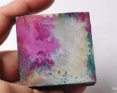 "Abstract Painting: 2x2"" Mini Original Art, Abstract Art, Original Art, Mixed Media Art, small artwork, purple, magenta, teal, ""Fickle"""