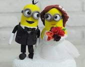Custom Wedding Cake Topper, Minions Topper, Funny Cake Topper, Bride and groom cake topper