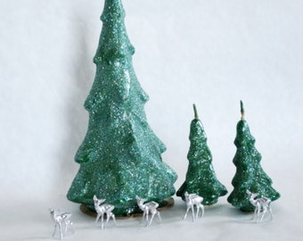 Vintage Tavern Christmas Tree Candles, Glitter Christmas Tree Candle Centerpiece, Holiday Christmas Xmas Decoration, Christmas in July
