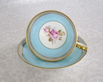 Vintage Aynsley Tea Cup and Saucer, Aqua Teacup w Pink Roses, Vintage Turquoise Blue Teacup and Saucer Set, Aynsley Aqua Tea Set