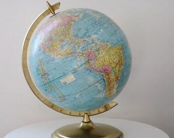 Vintage Crams World Globe, 12 inch Earth Globe, Vintage Cram's Imperial Scope-O-Sphere Desktop World Globe SwirlingOrange11