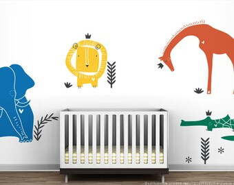 Royal Safari Wall Decal Mural by LittleLion Studio. Lion, Giraffe, Elephant and Crocodile Baby Safari Nursery Wall Decor