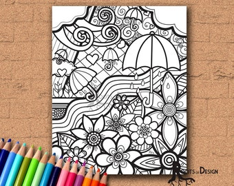 INSTANT DOWNLOAD Coloring Page - April Showers Bring May Flowers Print zentangle inspired, doodle art, printable