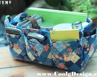 Purse organizer insert multi-pocket for handbag blue floral Large 25x10 cm