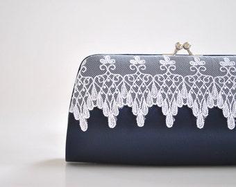 Midnight blue, Lace clutch, Wedding clutch, Bridal clutch, Bridesmaids clutch, prom clutch - Custom color
