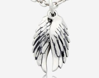 925 Sterling Silver Angel Wings Wing Pendant Medallion