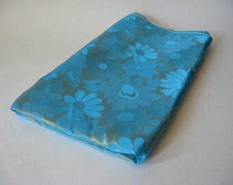 Glam turquoise blue and gold lame daisy floral formal vintage luxury dress fabric reversible