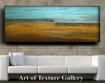 Abstract Original Painting Huge 72 x 30 Impasto Texture Metal Copper Aqua Silver Landscape Mesh Oil Painting by Je Hlobik