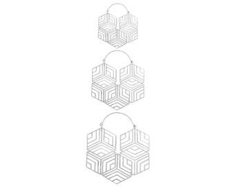 Silver Hexagonal Hoop Earring - Geometric Earrings - Boho Style - Silver Tribal Earrings