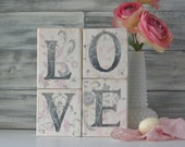 LOVE Blocks, Country chic, Unique gift, wedding decor, soft pink, grey, white, reclaimed wood