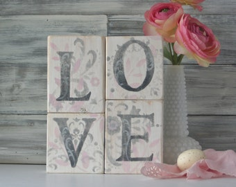 LOVE Blocks, Valentine decorations, country chic, Unique gift, wedding decor, soft pink, grey, white, reclaimed wood