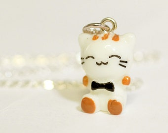 Kawaii Cat Necklace - Cute Kitten with Bowtie Charm Pendant - kawaii jewelry, kawaii necklace, kitten necklace