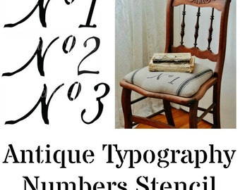 Vintage Number Font Stencil for decor, DIY projects and more