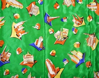 Large vintage 40s 50s novelty print Paris Eiffel Tower New York monuments striped silk scarf Baar & Beards Occupied Japan bombshell pin up