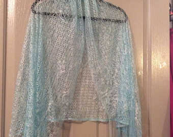 Lace shawl sale!very soft sheer gossamer with Fringe blue new