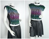 90s 80s glitter sequin metallic wavy chevron pattern blouse