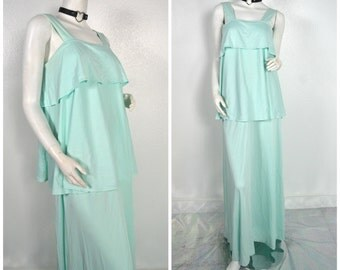 70s 60s Tiered Mint Green evening gown maxi dress