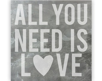 Tile - Large Slate 12in - 13878 All You Need Is Love