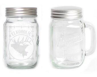 Mason Jar  Mug - 15 oz. small  2667 Elkaholic