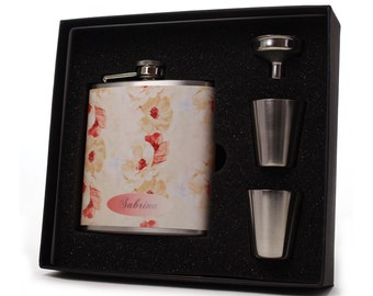 Flask for Women, Faded Floral Design HD01
