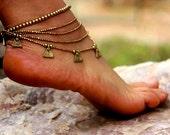 Tribal Ankle Bracelet With Brass Beads