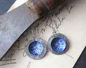 Deep Blue Violet Tin Disc Earrings, Tea Tin Earrings, Light Weight, Sterling Ear Wires