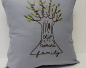 Personalized Family Tree Pillow Cover. Hand Embroidery. Gift for Parents. Siblings. Spa Blue. Valentines Day for Her. Mother's Day Gift.
