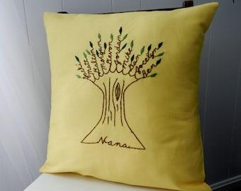 Grandma Pillow Cover. Gift for mom. Personalized Family Tree Art. Grandchildren Names. Gift for Grandma or Grandpa. Mother-in-law.