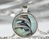 ON SALE Dolphin Necklace Nautical Jewelry Porpoise Marine Seaside Ocean Art Pendant in Bronze or Silver with Link Chain Included