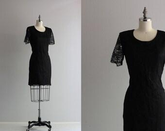 50s 60s Cocktail Dress . Retro Wiggle Dress . Black Lace Dress