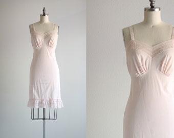 1950s Lingerie . Vintage Pink Slip . Nighty Nightgown
