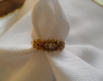 Vintage 10K Gold Ring With Rubies and Diamond Size 6.5