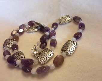 Amethyst Moonstone Silver Gemstone Necklace and Earrings Set - 21 Inches