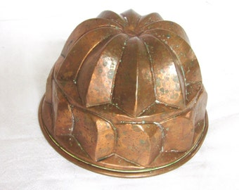 Copper Antique Mold Planished Kitchen Cooking Jelly Cake Dessert Mold Tin Lined