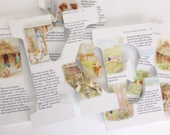 Beatrix Potter - Custom Wood Letters - Children's Book Pages - Nursery Alphabet Décor - Storybook Name Art - Bunny Rabbit Nursery