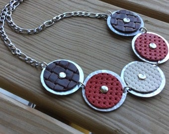 Statement Necklace- Red, Brown, Cream, and Silver Textured Metal and Leather Necklace-modern necklace