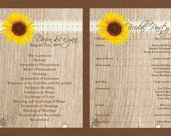Rustic Wedding Program, Sunflower Wedding Program, Lace Wedding Program, Country Wedding Program, Custom Wedding Program