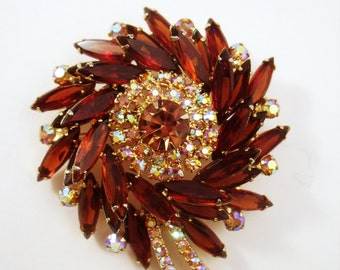 Delizza and Elster Deep Topaz layered flower brooch and earrings