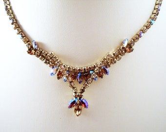 Sherman Necklace with AB and pale topaz stones