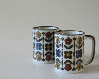 Vintage Retro Mugs, Pair